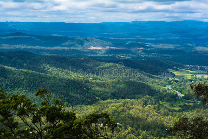 The panoramic countryside landscape view on mountainse in Toowoomba,Australia. The panoramic countryside landscape view on mountains in sunny day with blue sky royalty free stock photography
