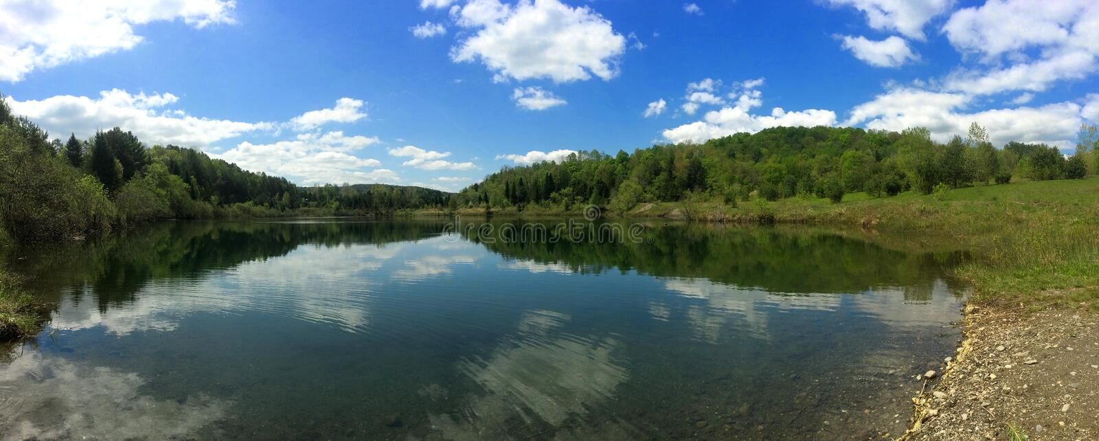 Panoramic of a Crystal Spring Fed Pond royalty free stock photo