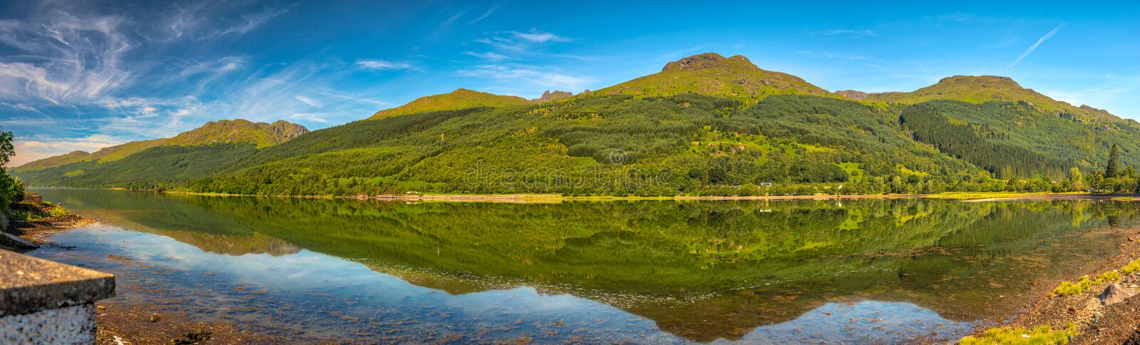 Panoramic day veiw of Loch Long stock image