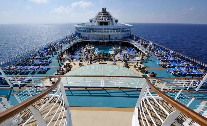 Panoramic deck cruise ship royalty free stock images