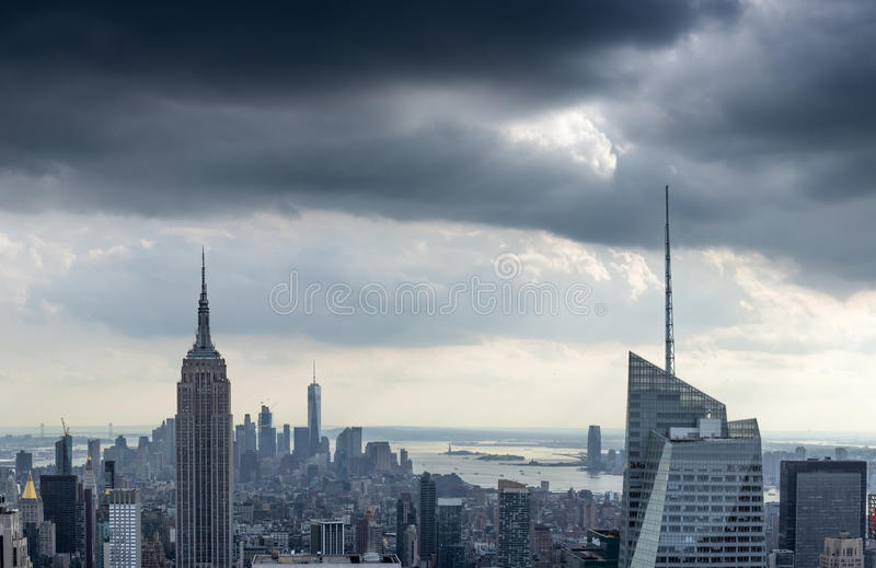 Panoramic of the Downtown Manhattan Skyline, New York City. Panoramic of the Downtown Manhattan Skyline with the Empire State Building, New York City stock photo