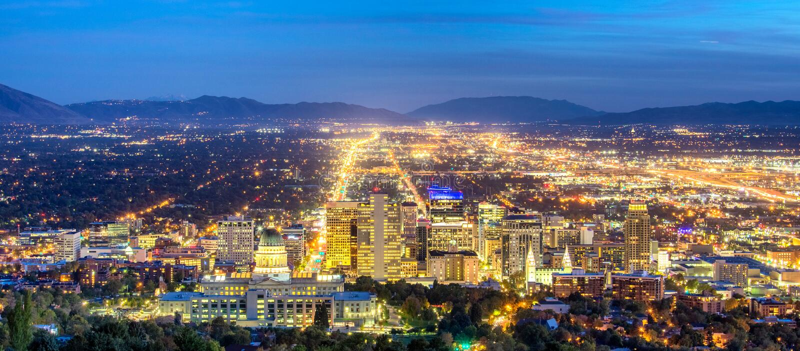 Panoramic Downtown Salt Lake City royalty free stock photos
