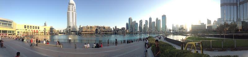 Panoramic Dubai downtown cityscape royalty free stock photo