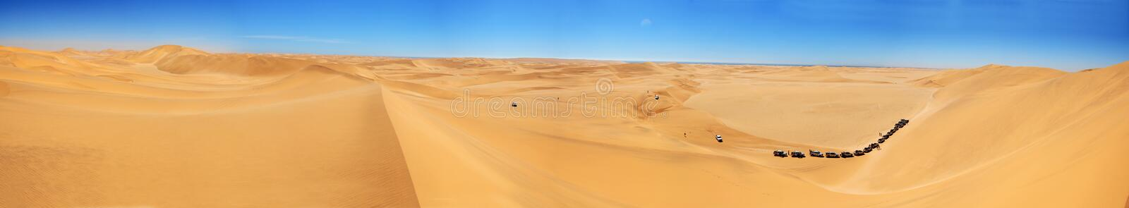 Panoramic Dune. A Panoramic photograph of the dunes in the Namib Desert royalty free stock images