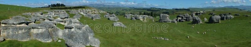 Panoramic of Elephant Rocks in North Otago stock image