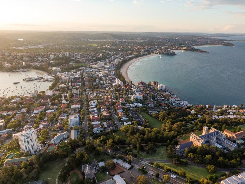 Panoramic evening aerial drone shot of Manly, a beach-side suburb of northern Sydney, in the state of New South Wales royalty free stock images