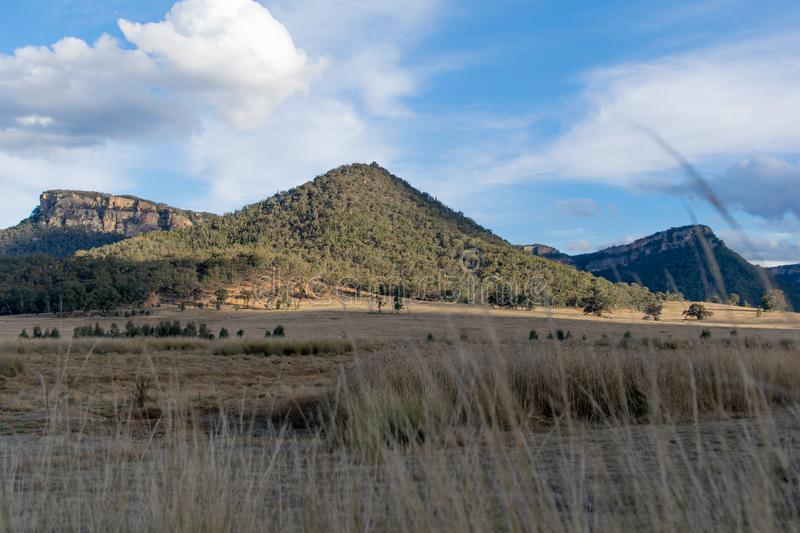 Panoramic evening sunset view of Wolgan Valley along the Wolgan River in the Lithgow Region of New South Wales, Australia. royalty free stock images