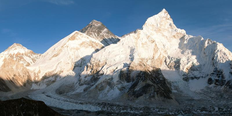 Panoramic evening view of Mount Everest from Kala Patthar. Way to Everest base camp - Nepal royalty free stock images