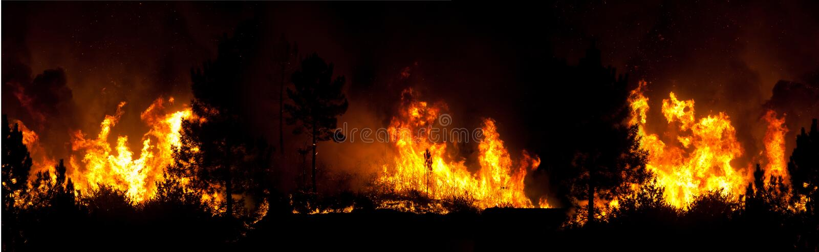 Panoramic Fire with 3 Photos. Panoramic Background Fire with 3 Photos royalty free stock images