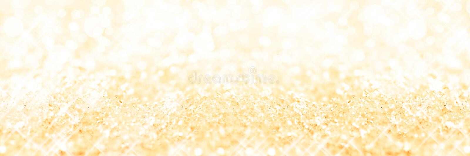 Panoramic golden background of snow, holiday background royalty free stock photography