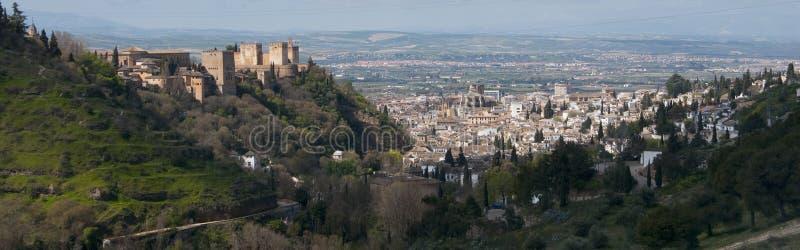 Panoramic of Granada and Alhambra. Granada, Spain royalty free stock images