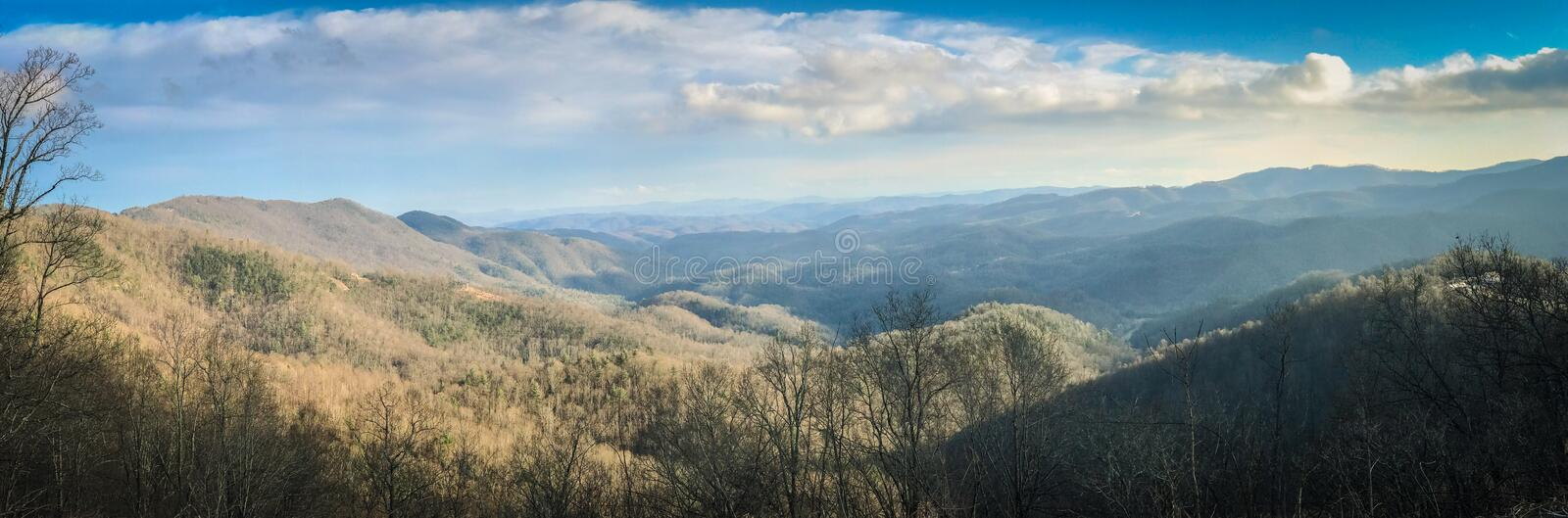 Panoramic of Grandview Overlook, Boone, North Carolina. The Grandview Overlook located in Boone, North Carolina standing 3240 feet above sea level royalty free stock photo