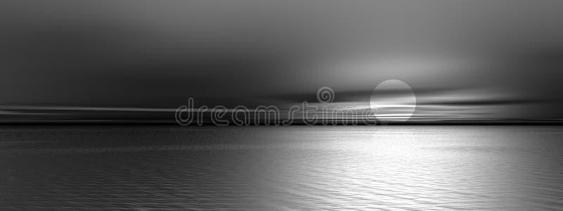 Panoramic gray sunset vector illustration