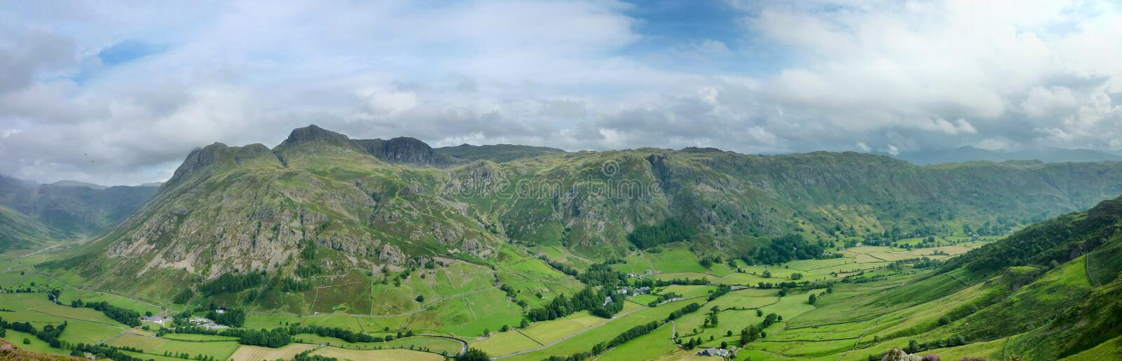 Panoramic of Great Langdale, Lake District, England. Looking over Great Langdale to the Langdale Pikes and valley royalty free stock image