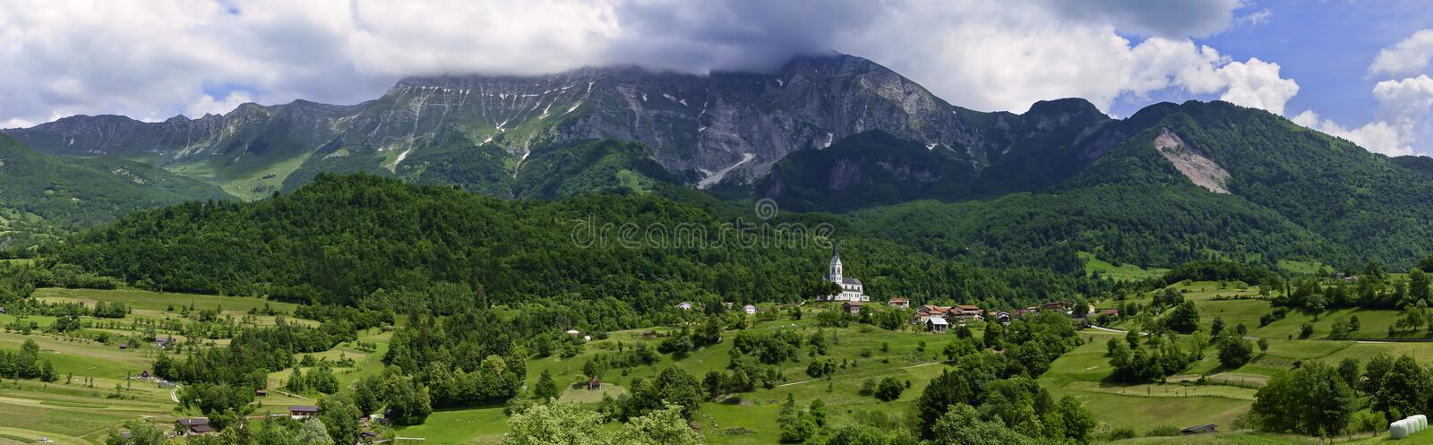 Panoramic green valley in the Slovenian countryside stock images