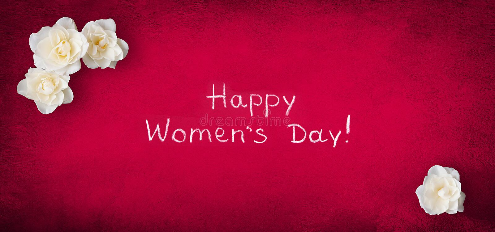 Panoramic greeting card 8 March Happy Women`s Day stock photo