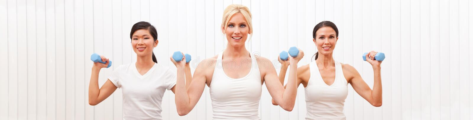 Panoramic Group of Three Women Weight Training Pilates royalty free stock photos