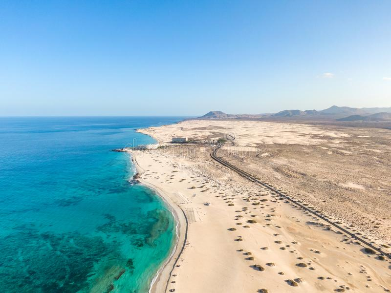 Panoramic high angle aerial drone view of Corralejo National Park Parque Natural de Corralejo with sand dunes stock photos