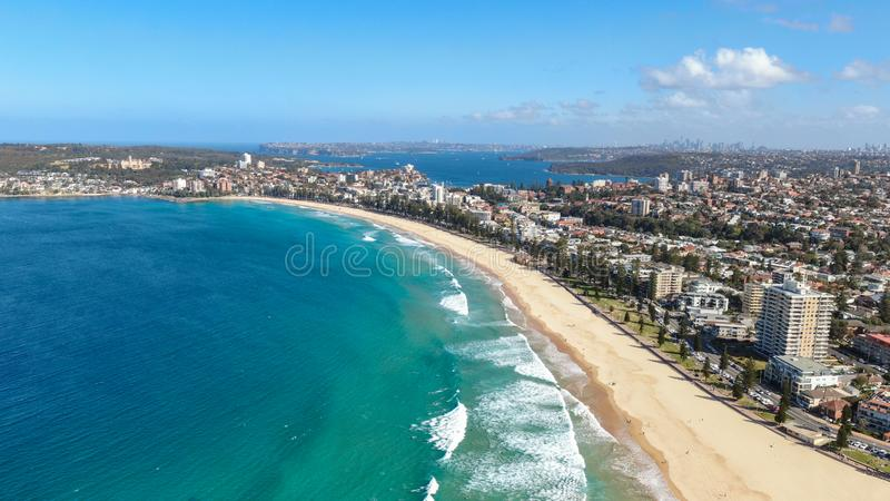 Panoramic high angle drone view of Manly Beach and the Sydney Harbour area. Manly is a popular suburb of Sydney, New South Wales stock photo