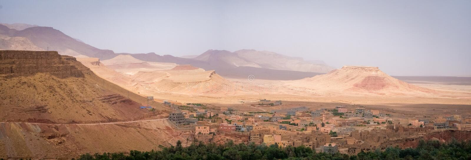 Panoramic high angle view of the old historical abandoned Kasbah city in Morocco. A panoramic high angle view of the old historical abandoned Kasbah city in stock photography