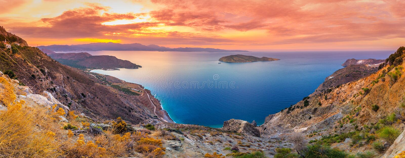 Panoramic high point view of the picturesque gulf of Mirambello, Crete stock image