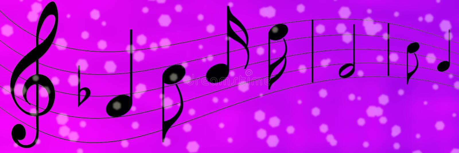 Black Music Notes in Purple and Violet Banner Background royalty free illustration