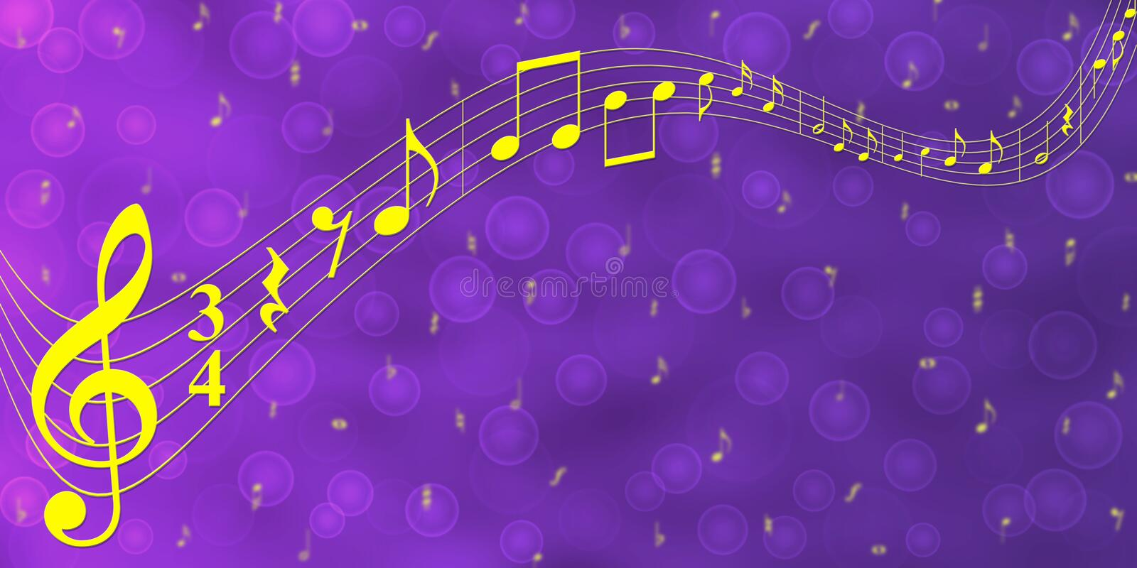 Yellow Music Notes In Purple Gradient Banner Background Stock Image - Image  Of Blur, Artistic: 158264633