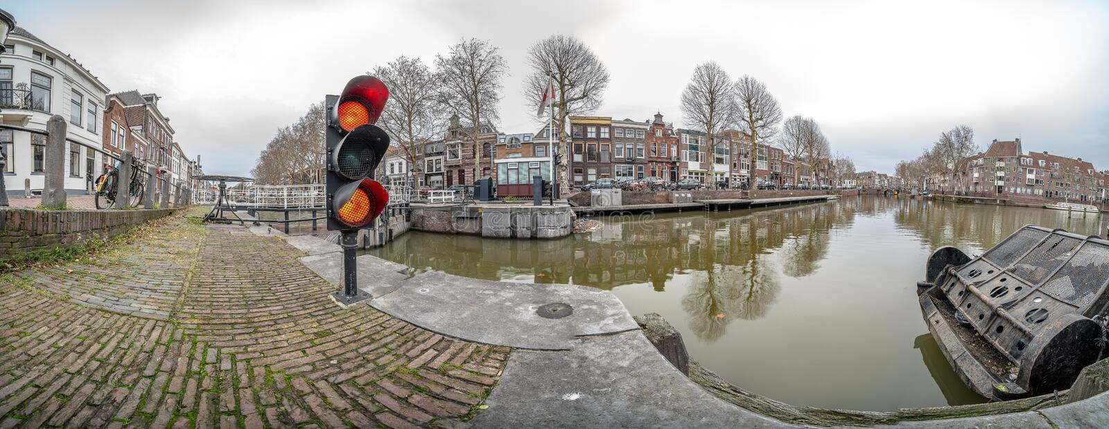 Panoramic image of the canals in Utrecht in the Netherlands stock photos