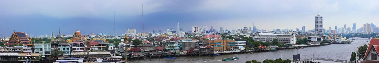 Panoramic image of Bangkok showing the Chao Phraya River stock photo
