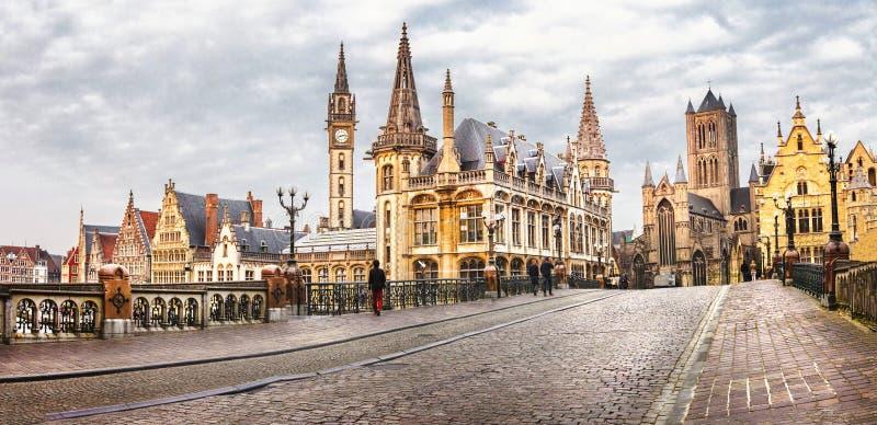 Panoramic image of medieval Ghent, Belgium stock photo
