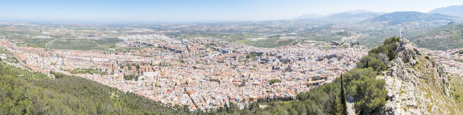 Panoramic Jaen city view from Santa Catalina Castle, Spain royalty free stock images