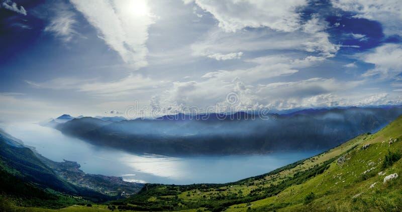 Panoramic of Lake Garda. From Mount Baldo royalty free stock photography