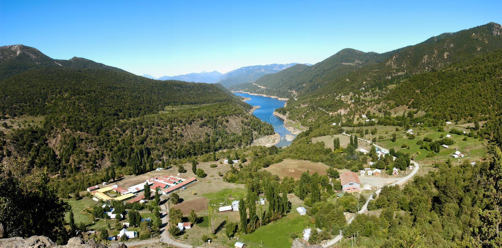 Panoramic Lake Ranco in Alto Bio Bio Chile. Artificial lake formed by the Ralco hydroelectric plant to generate electricity stock photo