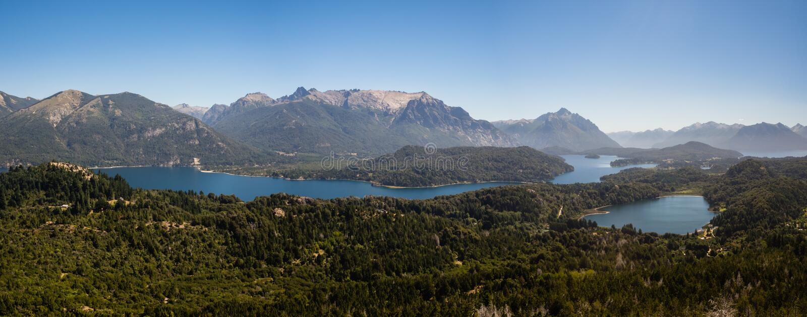 Panoramic of the lakes, mountains and forest near Bariloche city in argentinian Patagonia royalty free stock images