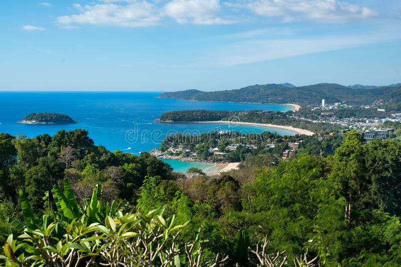Panoramic Landmark in the South of Phuket Thailand- Three Beaches Hill - Karon Viewpoint. Karon Viewpoint  is one of the most frequented spots in Phuket. Locally stock photography