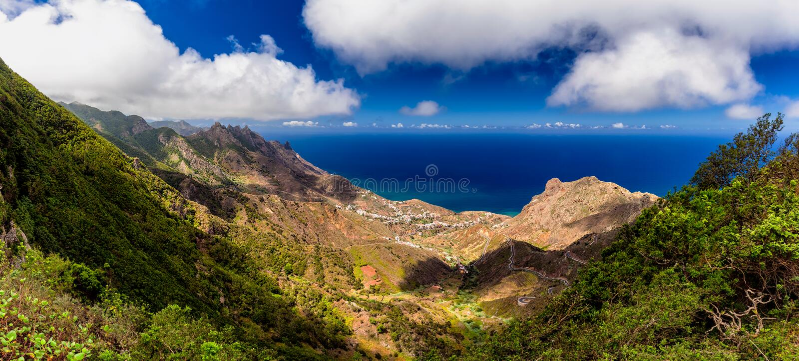 Panoramic landscape in Anaga mountains, Tenerife Canary Islands, Spain royalty free stock images