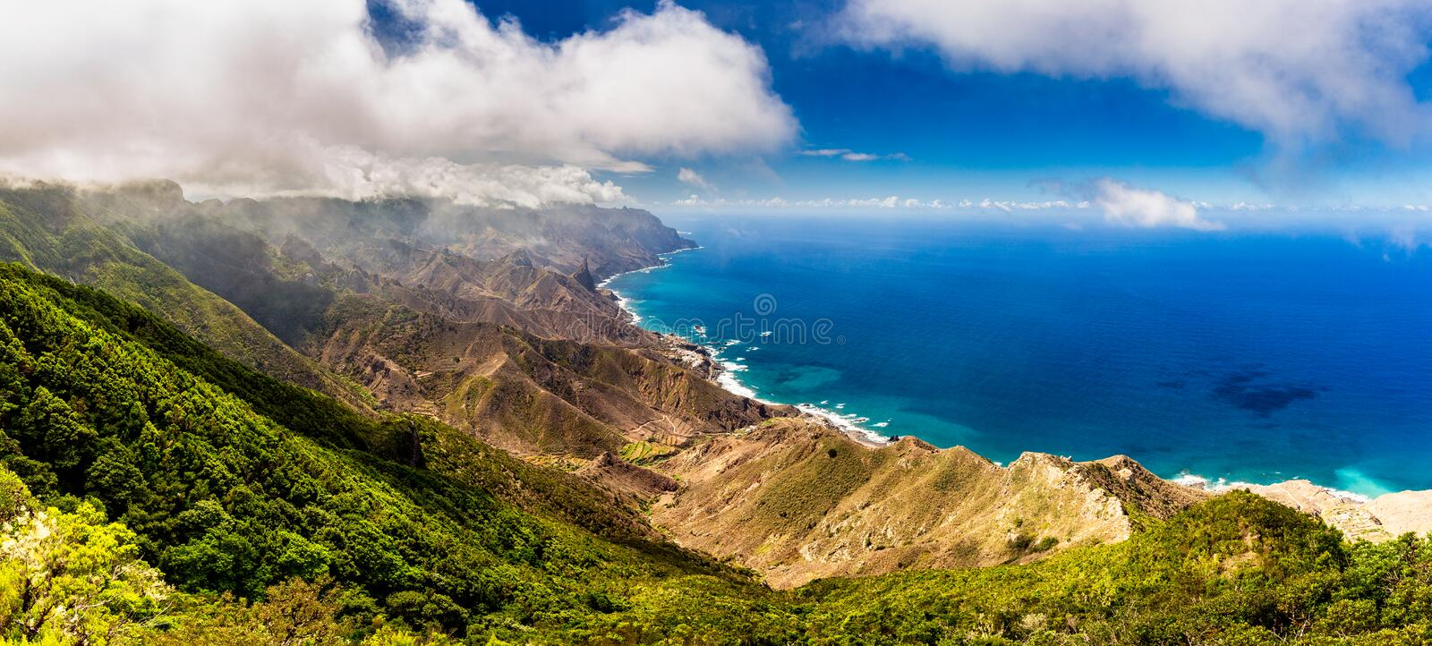 Panoramic landscape in Anaga mountains, Tenerife Canary Islands, Spain stock images