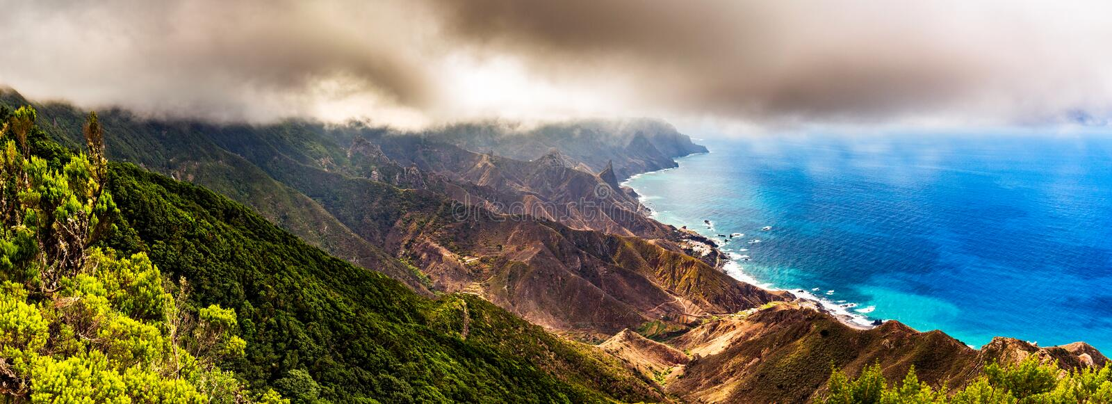 Panoramic landscape in Anaga mountains, Tenerife Canary Islands, Spain stock photos