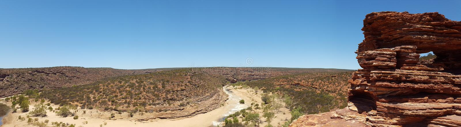 Panoramic landscape Australian outback. Kalbarri, scene, nature, rock, formation, cliff, hike, trek, outdoors, adventure, skyline, blue, frame, background stock photography