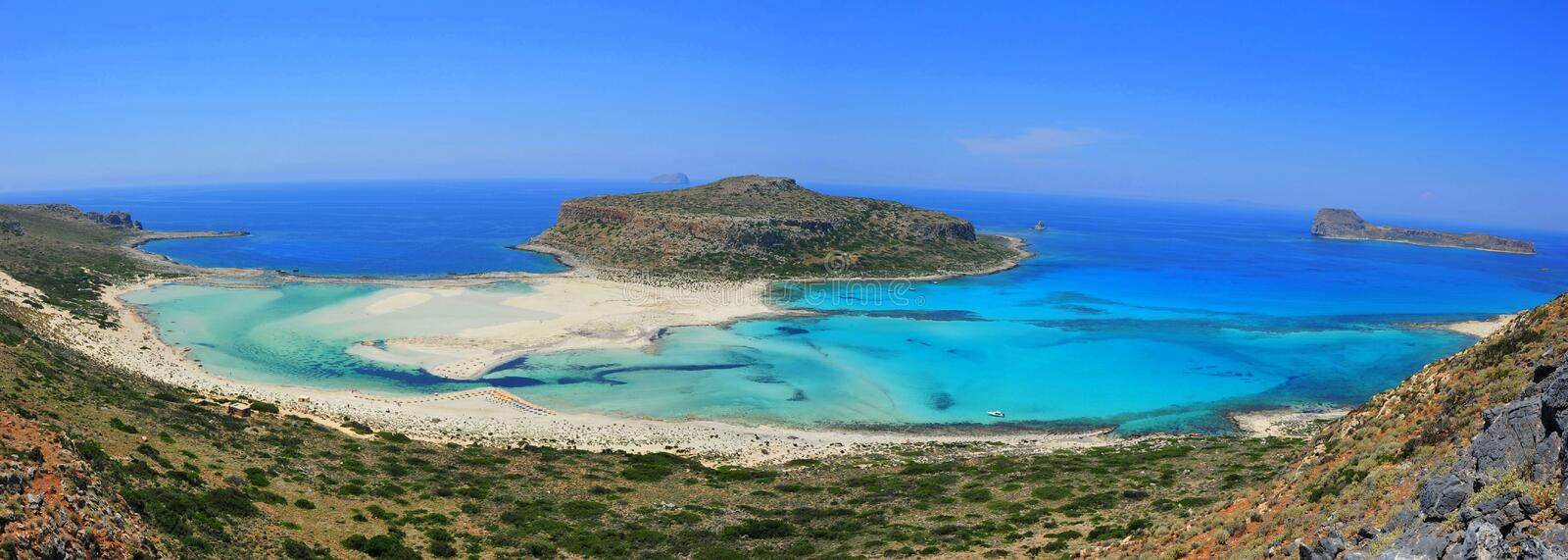 Panoramic landscape of Balos bay - Crete, Greece. Amazing panoramic view over Balos bay, Gramvousa (Crete, Greece stock photos