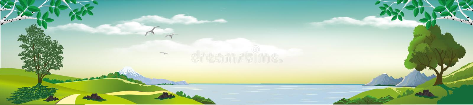Panoramic landscape - Bay. Sea views from the hills. The trees on the hill. Wildlife. The mountains on the horizon. Vector illustration royalty free illustration