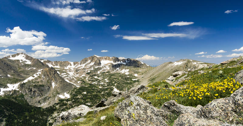 Panoramic Landscape in the Colorado Rocky Mountains. Colorado Rocky Mountains Panoramic Landscape View - Arapaho Glacier Trail royalty free stock images