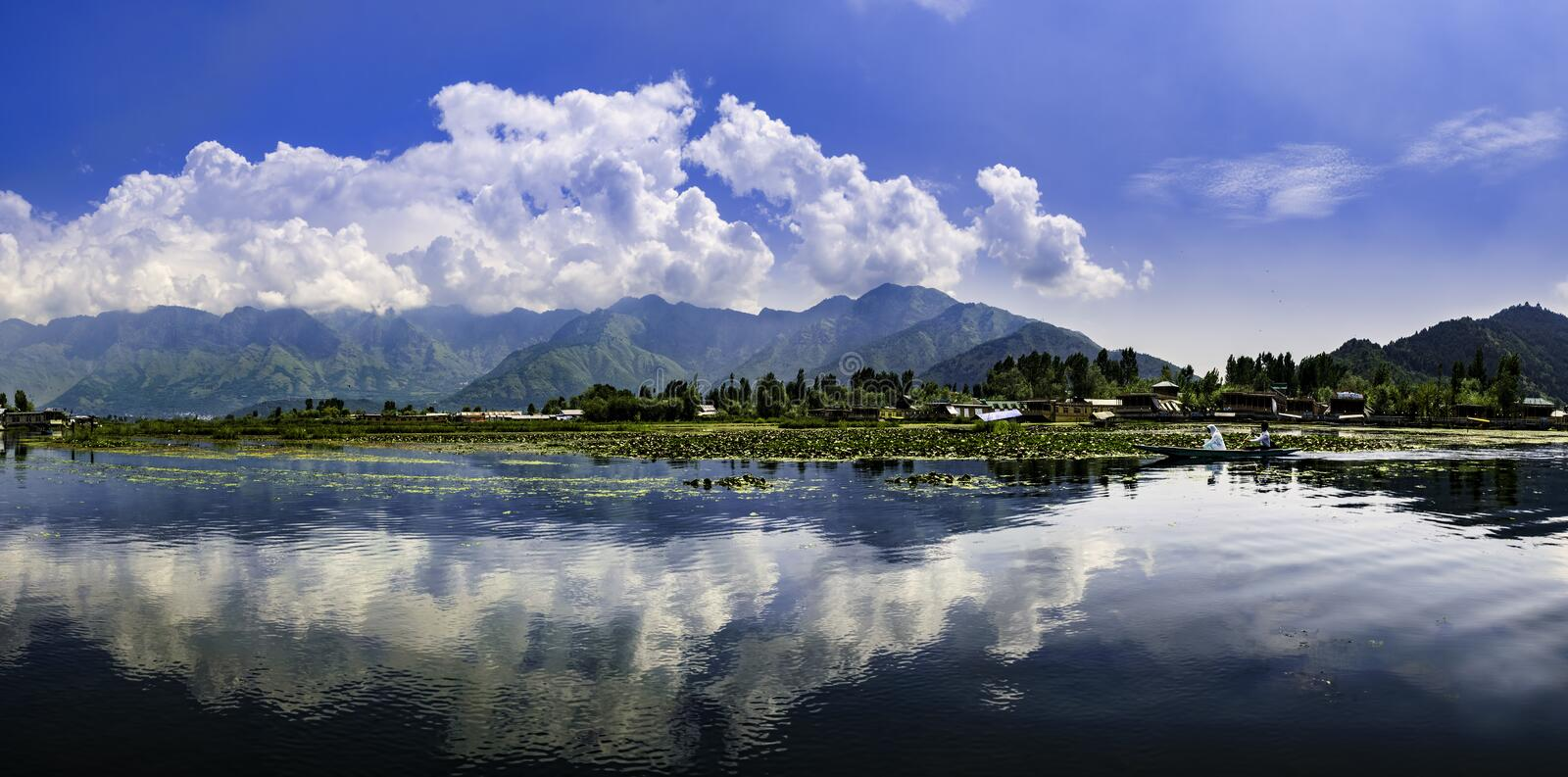 Panoramic landscape of Dal Lake, Srinagar, India. Beautiful panoramic landscape at Dal Lake, Srinagar, Kashmir, India royalty free stock images