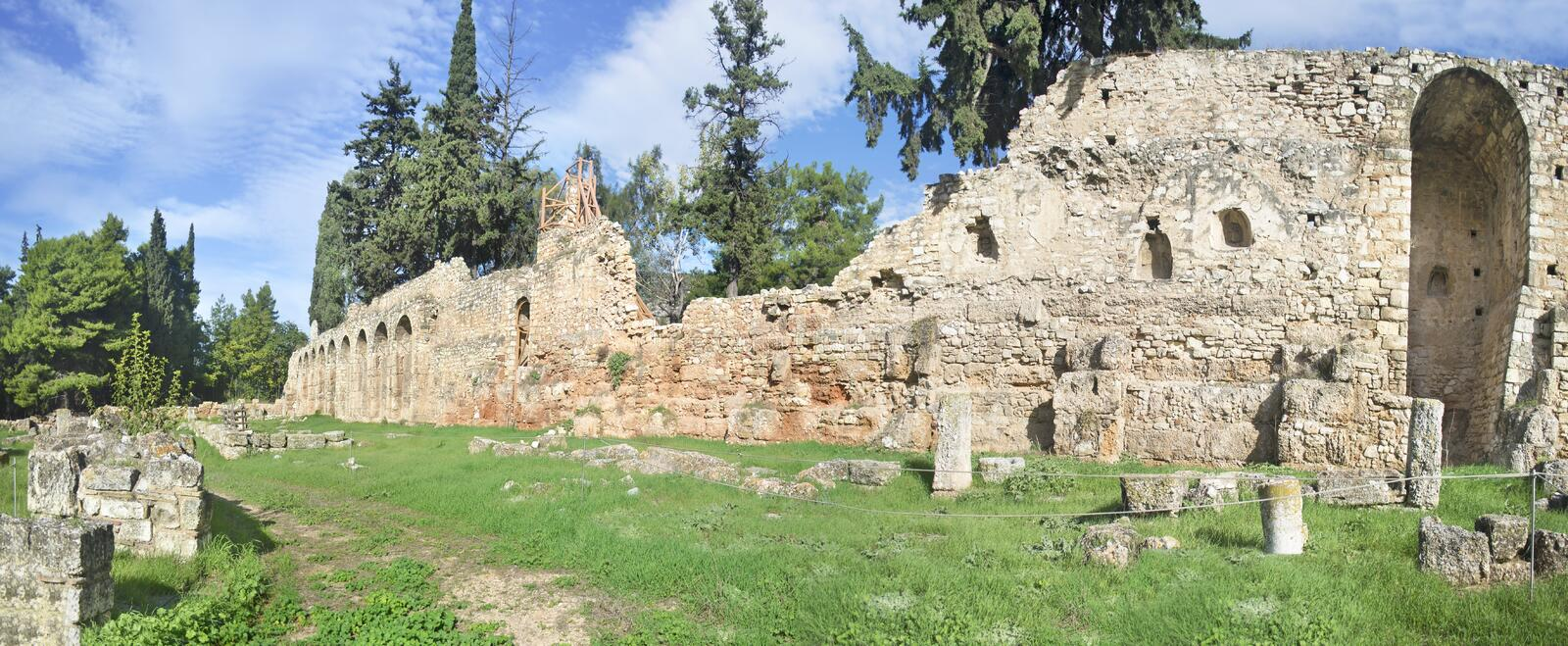 Panoramic landscape of Daphni Monastery Athens Greece stock photography