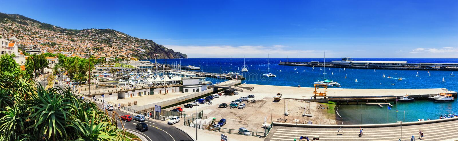 Panoramic landscape with Funchal port. Madeira island. Panoramic landscape with Funchal port and coastline. Madeira island royalty free stock image