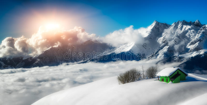 Panoramic landscape of hermitage isolated in the snow stock photos