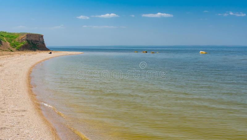 Panoramic landscape with Kakhovka Reservoir located on the Dnepr River, Ukraine royalty free stock photo