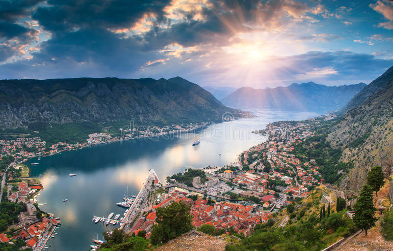Panoramic landscape Kotor bay in Montenegro at sunset. Dramatic evening light. Balkans, Adriatic sea, Europe. View from the top of the mountain stock images