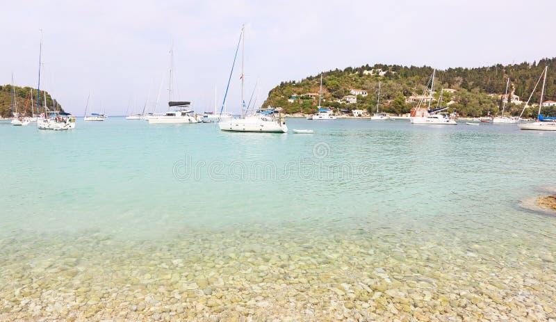 Panoramic landscape of Lakka village Paxos island Greece royalty free stock photo