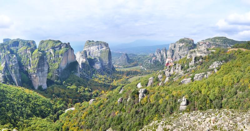 Panoramic landscape of Meteora Thessaly Greece stock photography